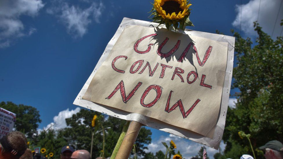 A demonstration on the street in front of the National Rifle Association headquarters in Fairfax, Virginia, on Saturday, August 4, 2018
