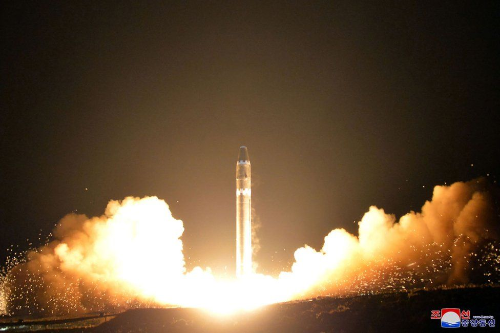 This photo taken on 29 November 2017 and released on November 30, 2017 by North Korea's official Korean Central News Agency (KCNA) shows launching of the Hwasong-15 missile which is capable of reaching all parts of the US.