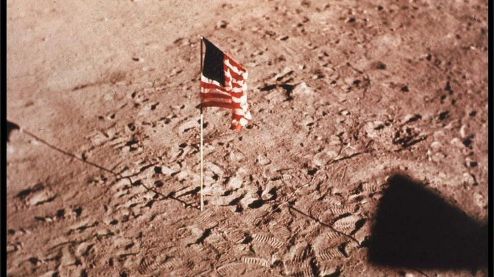 US flag on surface of the Moon