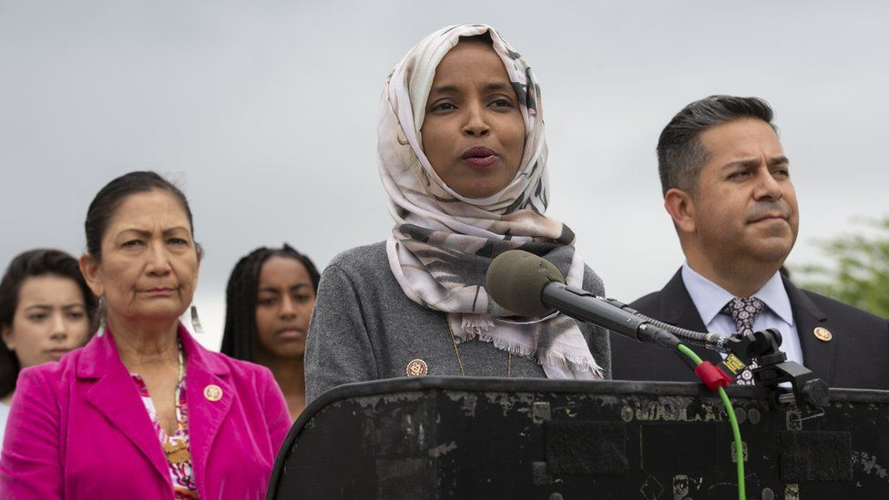 """US Democratic congresswoman Ilhan Omar announcing a new bill to end lunch debt """"shaming"""""""