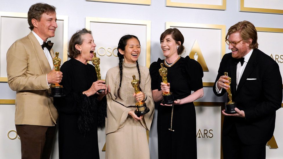 Nomadland producers Peter Spears, Frances McDormand, Chloe Zhao, Mollye Asher and Dan Janvey