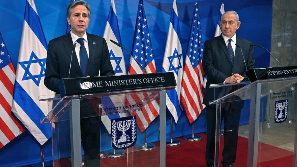 US Secretary of State Anthony Blinken and Israeli Prime Minister Benjamin Netanyahu hold a joint news conference in Jerusalem (25 May 2021)
