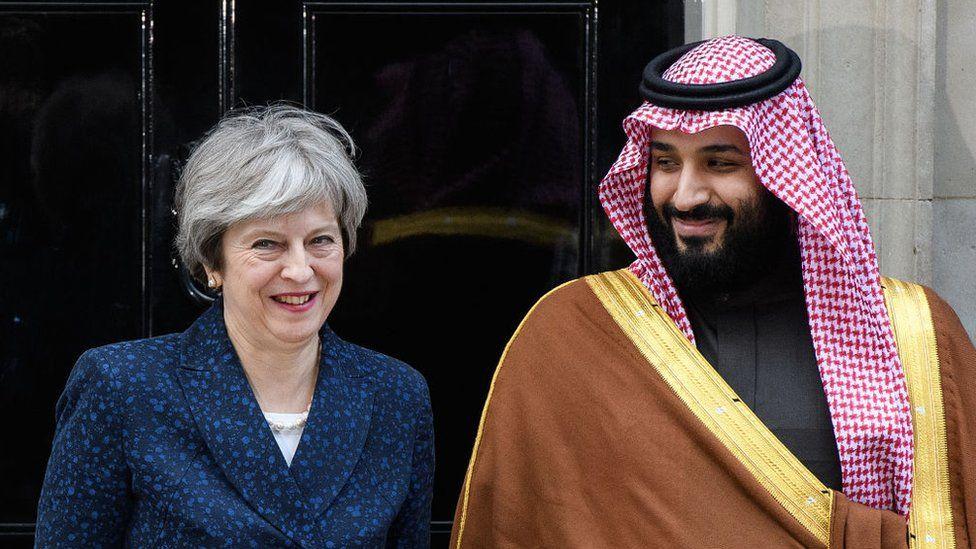 Theresa May and Mohammed bin Salman outside 10 Downing Street