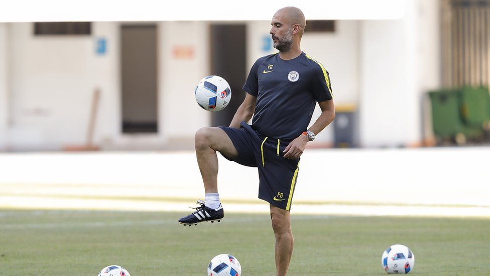 Pep Guardiola in pre-game training before the International Champions' cup game against Man Utd in July 2016