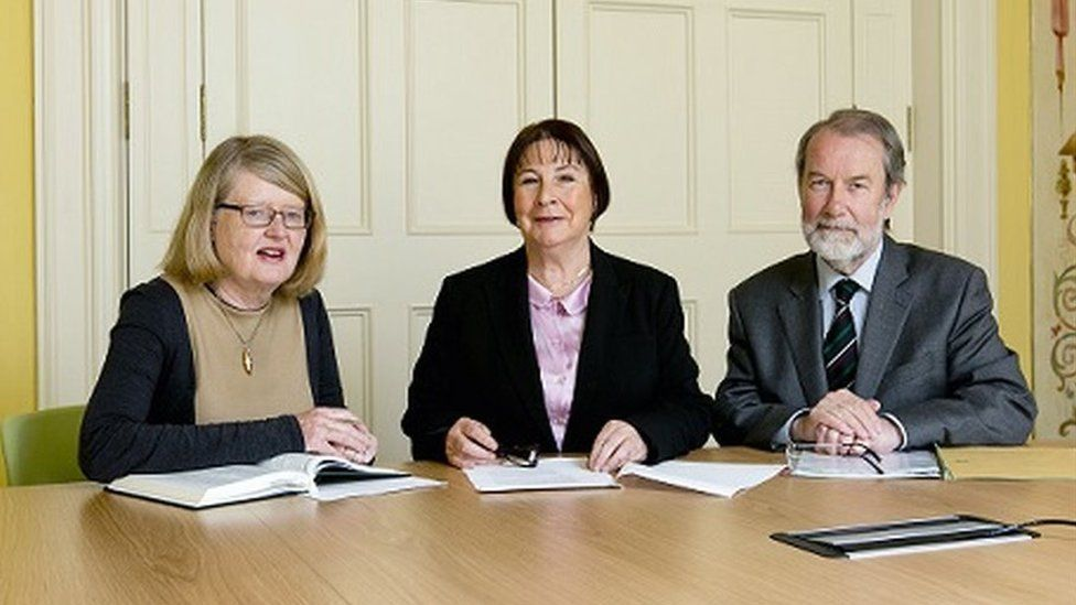 The commission is chaired by judge Yvonne Murphy (centre) who has led high-profile investigations into clerical child abuse