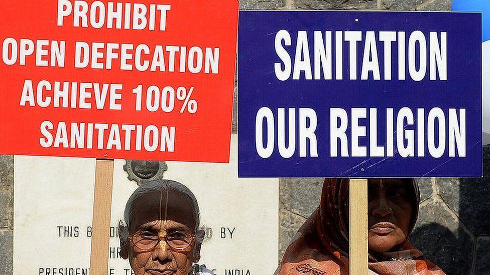 Sanitation campaign signs