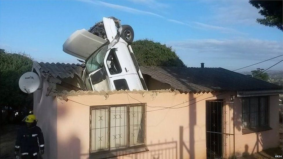 Durban Car Goes Through Roof Of South African Home Bbc News