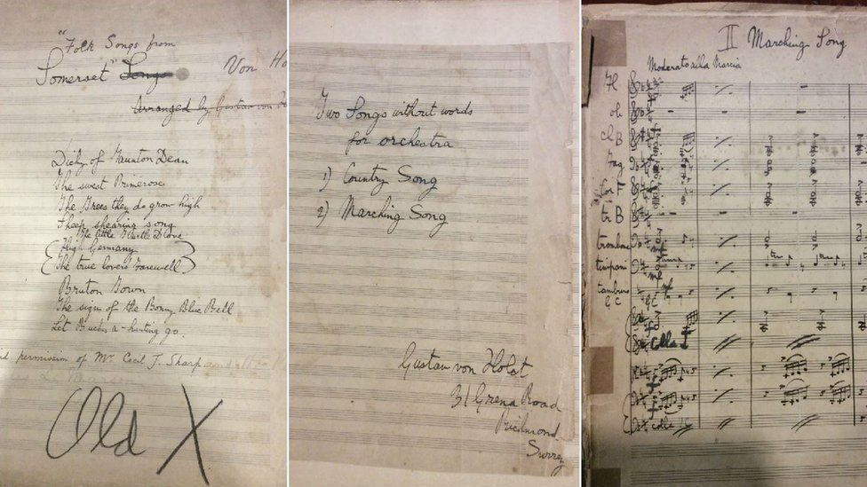 A composite image of the two manuscripts