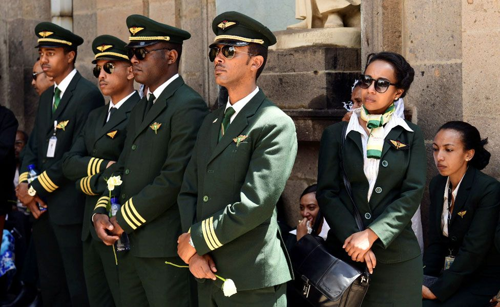 Ethiopian Airlines crew members attend a memorial service for the victims of the Ethiopian Airlines Flight ET 302 plane crash, at the Selassie Church in Addis Ababa, Ethiopia March 17, 2019