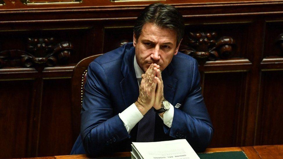 Italian PM Giuseppe Conte in parliament, 29 December 2018