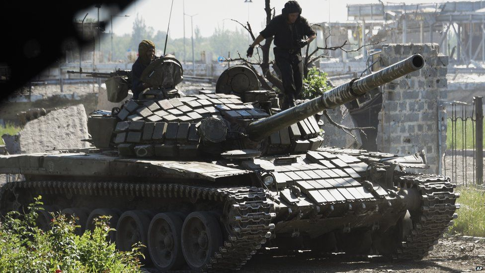 Rebel tank at ruined Donetsk airport, 9 Jun 15