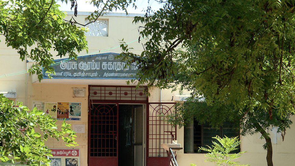 An empty vaccination centre in Tiruvannamalai