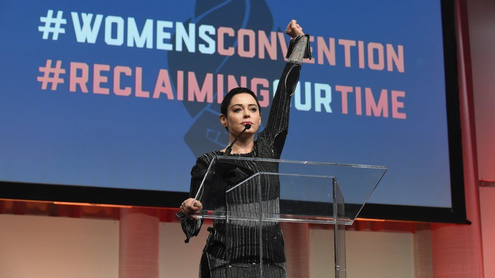 A picture of Rose McGowan, who has become a central figure in the #MeToo movement