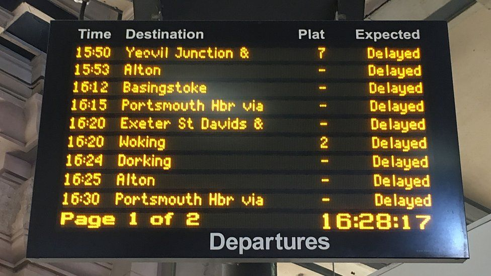 A departure board at Waterloo station showed the disruption caused by the hot weather