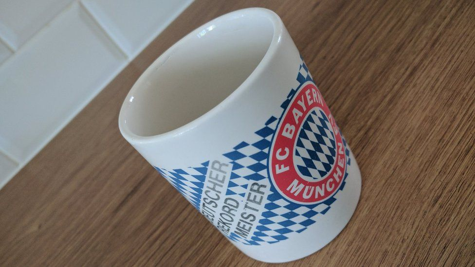Jim's old Bayern Munich mug, bought in 1996