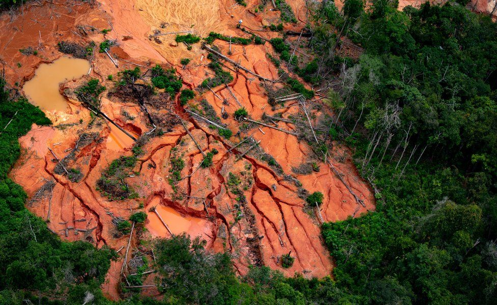 Devastation caused by illegal mining in the Amazon