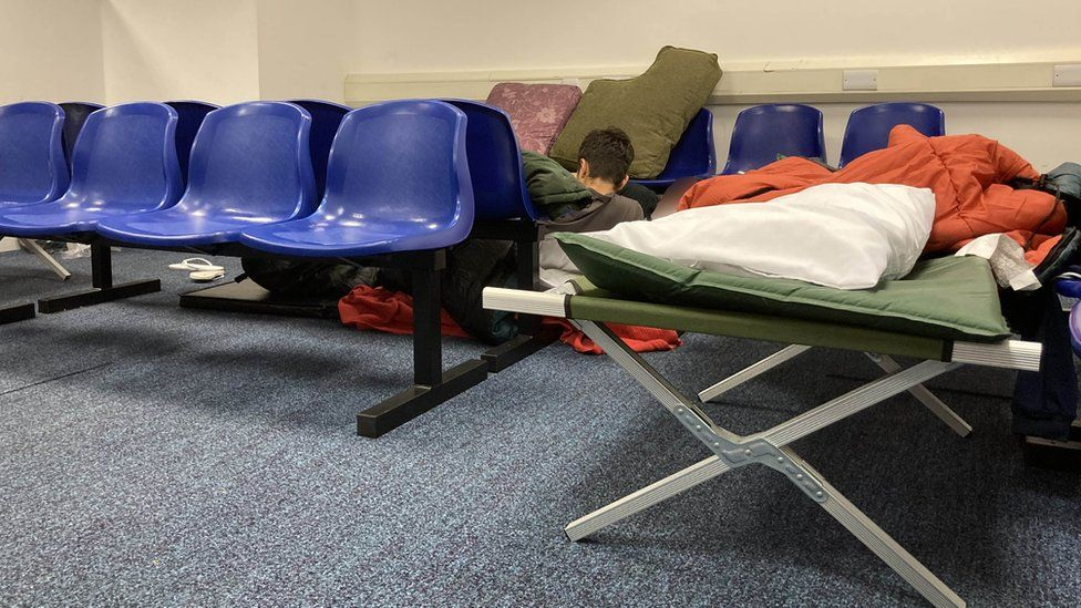 Inside a holding centre in Kent used for child migrants