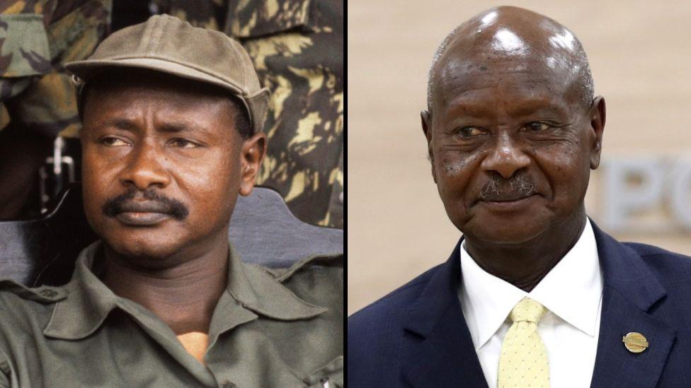 Composite of pictures of Yoweri Museveni