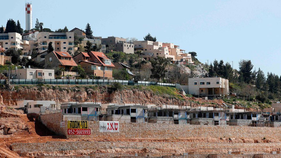 Houses under construction in the Jewish settlement of Shilo in the occupied West Bank (30 March 2017)