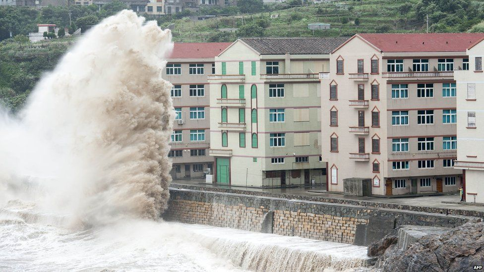Huge waves caused by typhoon Chan-hom strike near Wenling in Zhejiang province, China. 10 July 2015