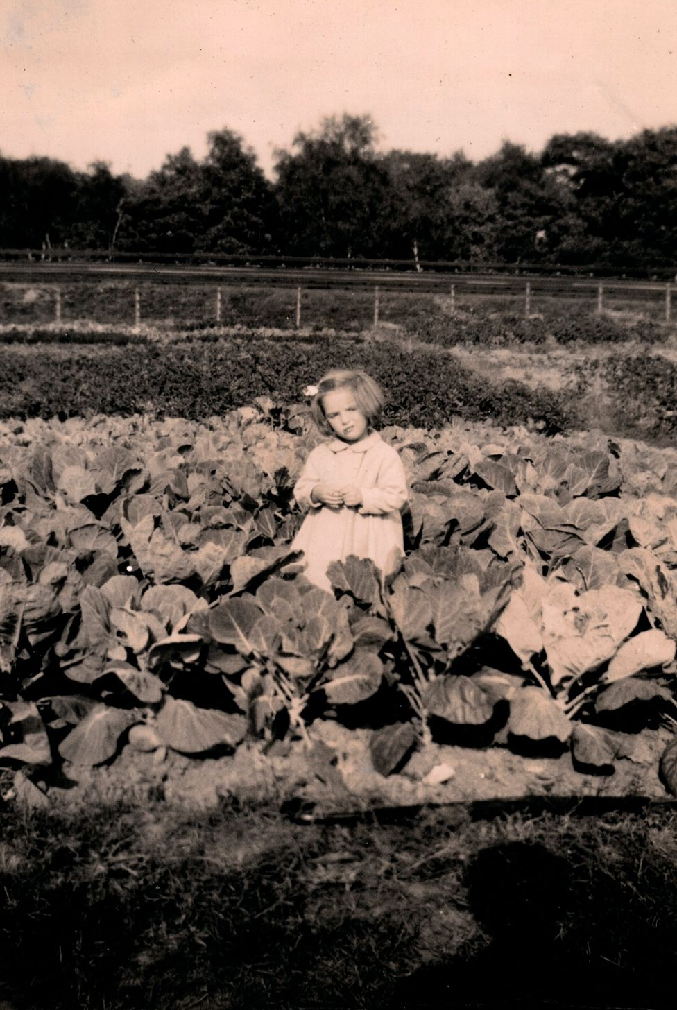 Christine Regas as a young girl on allotment