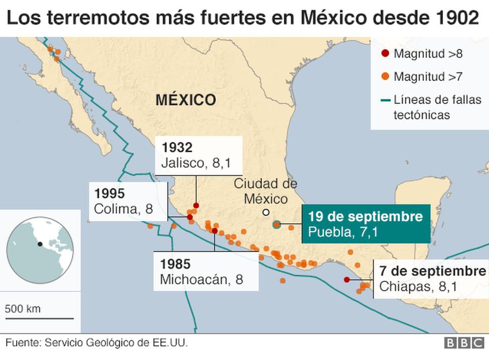 Los terremotos más fuertes de México desde 1902