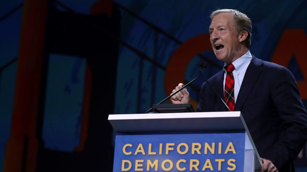 Tom Steyer speaks during the California Democrats 2019 State Convention at the Moscone Center on June 01, 2019 in San Francisco, California