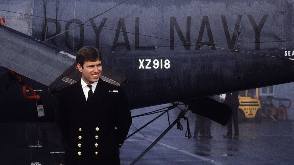 Prince Andrew returning from the Falklands War in September 1982