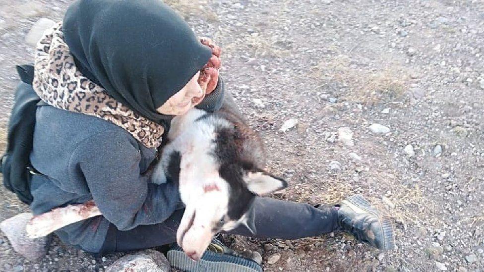 Sahba Barakzai and her dog after she had been shot dead
