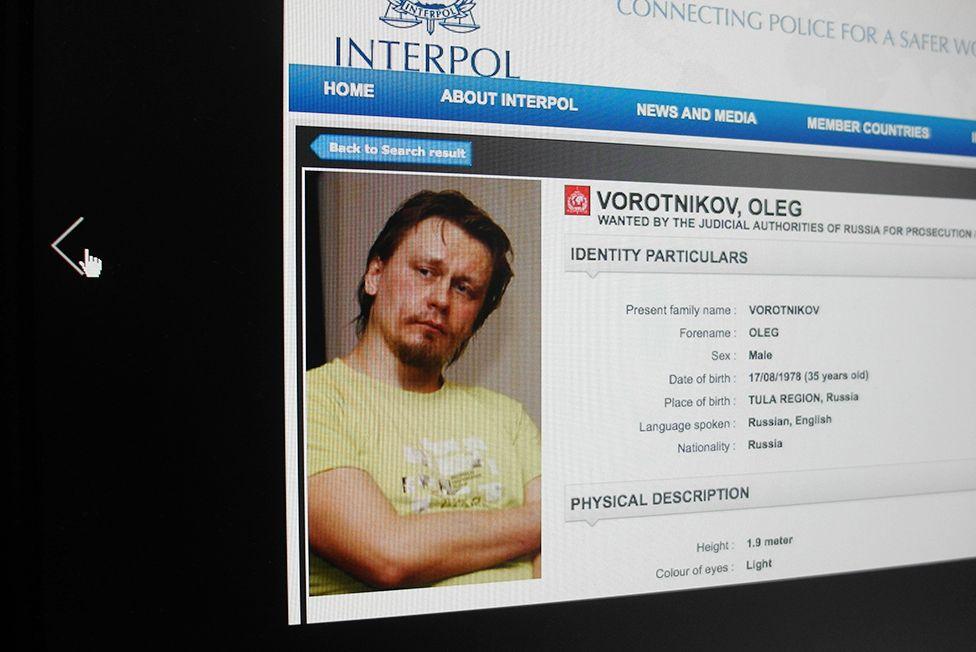 Карточка Олега Воротникова в базе данных Интерпола