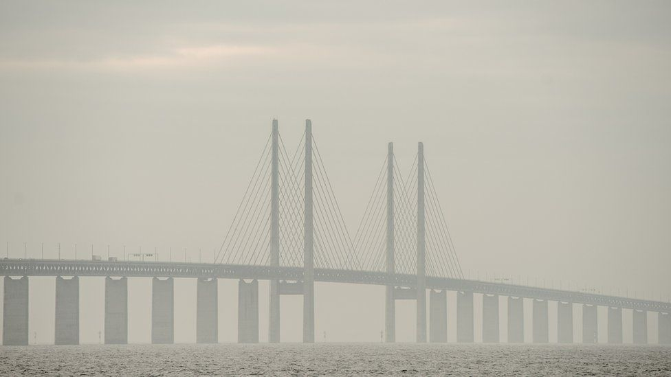 A general view of the Oresund bridge on February 5, 2016 in Malmo, Sweden