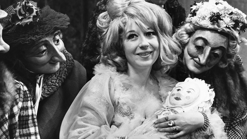 Frances Cuka as Mrs Allwit, in a scene from the Jacobean comedy A Chaste Maid in Cheapside at the Royal Court Theatre, in 1966