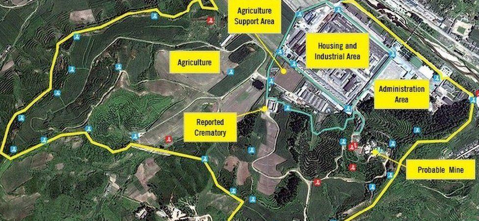 A satellite image of prison camp no 25 in North Korea