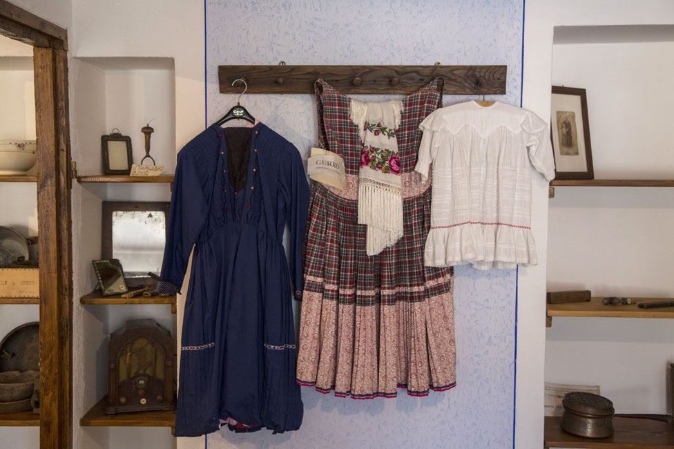 A traditional underskirt on display in the village museum