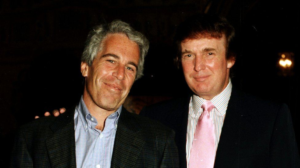 Jeffrey Epstein (left) pictured with US President Donald Trump in 1997