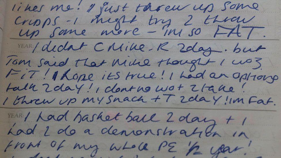 Diary extract: I threw up some crisps today. I threw up my snack. I'm FAT.