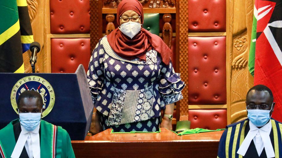 Tanzanian President Samia Suluhu Hassan in Kenya's parliament, Nairobi, Kenya - Wednesday 5 May 2021