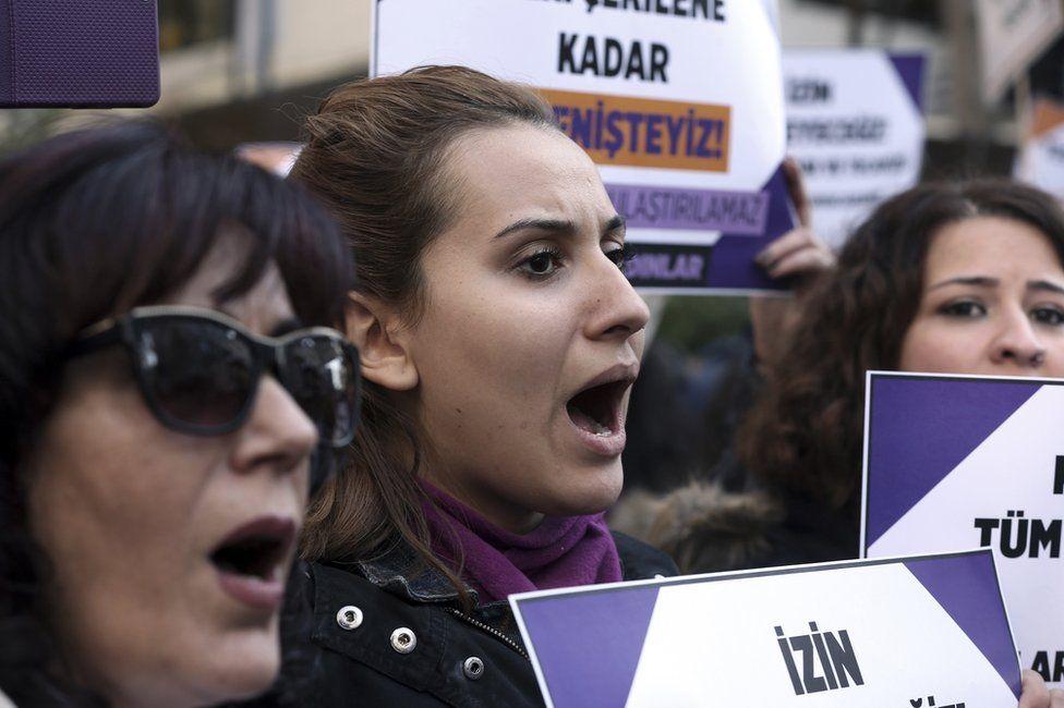 Turkish women stage a protest in Ankara, Turkey, 19 November