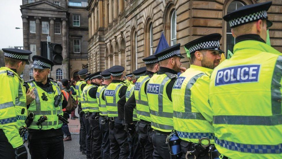 Police at climate change protest in Glasgow