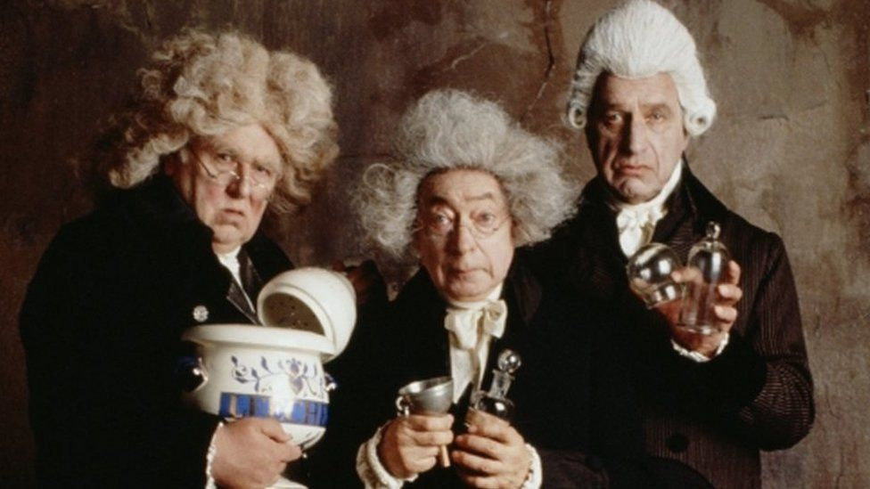 From left to right, Roger Hammond, Cyril Shaps and Geoffrey Palmer as physicians in the film 'The Madness of King George'