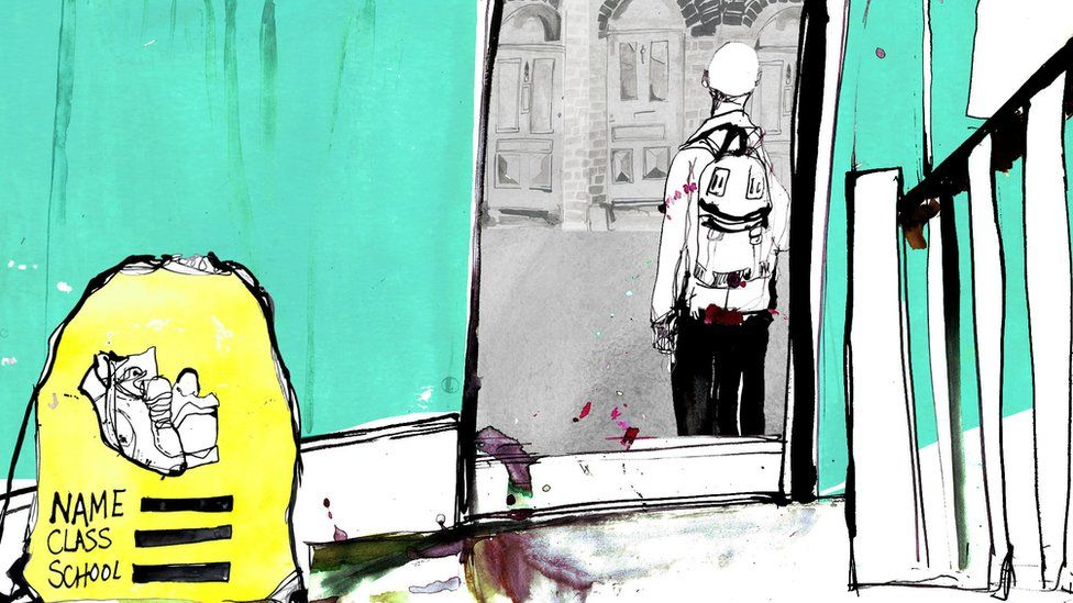 Illustration - boy leaving house with PE kit left in doorway