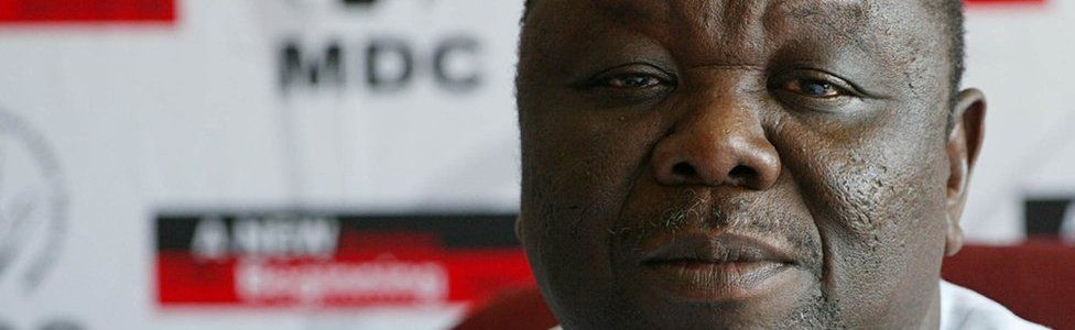 Zimbabwe opposition leader Morgan Tsvangirai gives a press conference in Harare, 20 March 2008