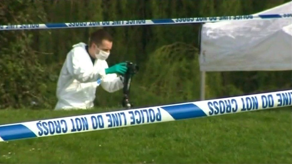 Forensics officers in Colchester's Castle Park area following the death of James Attfield