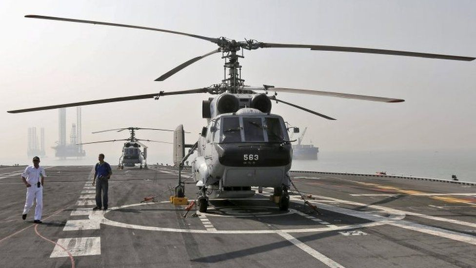 Kamov helicopters on the flight deck of the Indian navy's aircraft carrier INS Vikramaditya off the coast of Mumbai (03 December 2015)