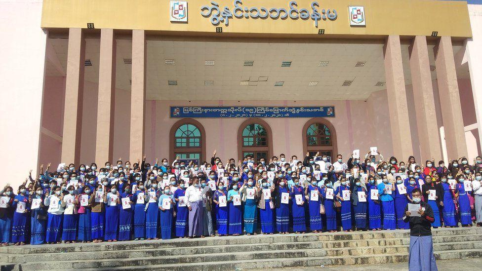 University teacher protest in Kachin State