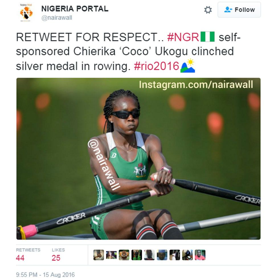 Nigeria Portal tweet reading: RETWEET FOR RESPECT.. #NGR self-sponsored Chierika 'Coco' Ukogu clinched silver medal in rowing. #rio2016
