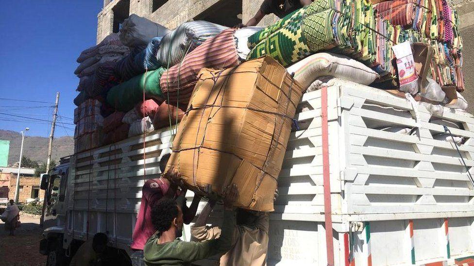 Loading a car in Adigrat