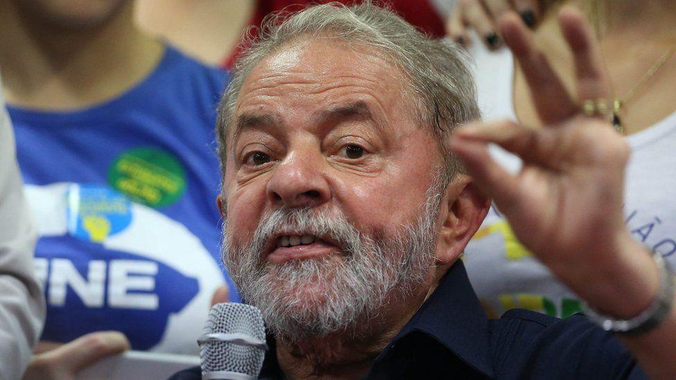 A file picture dated 04 March 2016 shows Brazilian former President Luiz Inacio Lula da Silva during a press conference in Sao Paulo