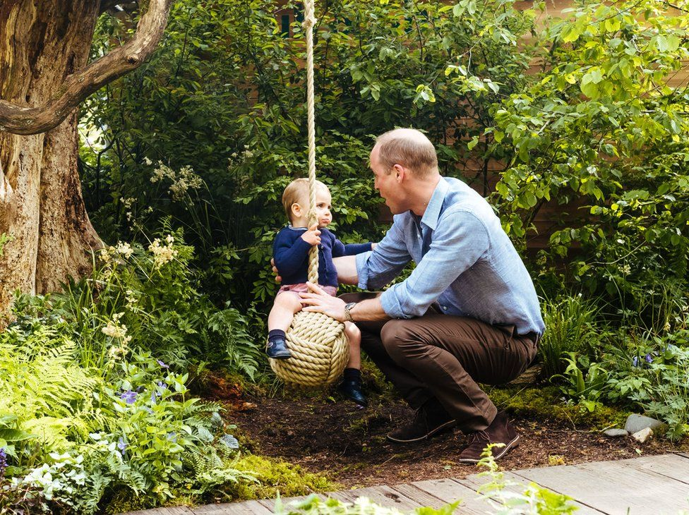The Duke of Cambridge plays with Prince Louis on a swing