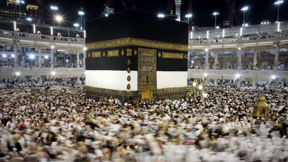 Muslim pilgrims circle the Kaaba, at the Grand Mosque in the Saudi holy city of Mecca, on 20 September 2015